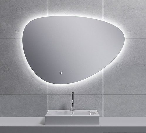 Spiegel asymmetrisch met indirecte dimbare verlichting en spiegelverwarming 90cm