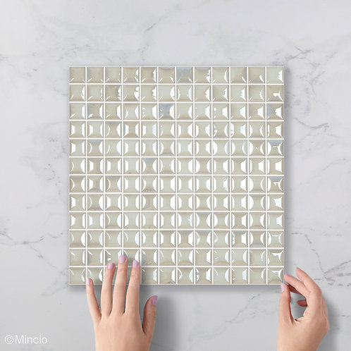 Parelmoer wit vierkante glasmozaïek 25 x 25 mm tegels