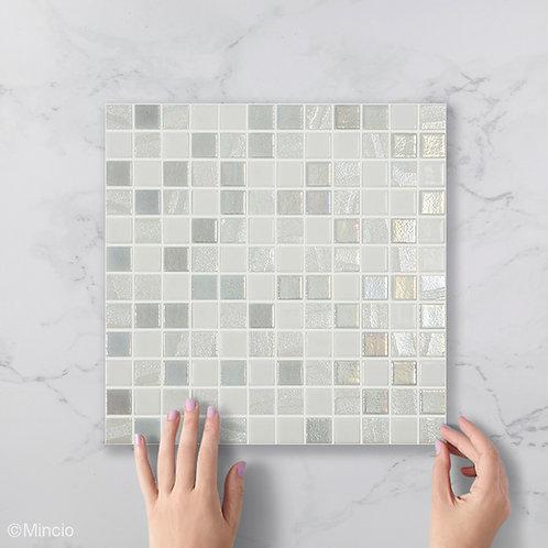 Wit parelmoer polar glasmozaïek 25 x 25 mm tegels