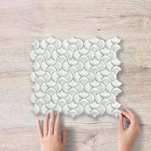 Grijs witte marmer visschub glasmozaïek 36 x 29  tegels