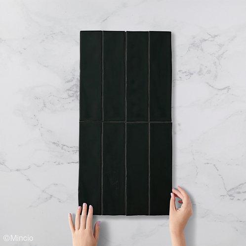 Handvorm metrotegels mat zwarte 7.5x30 visgraat wandtegels