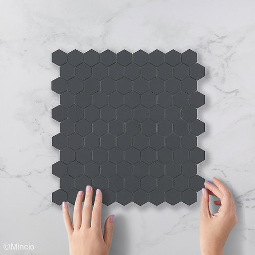 Mat donker grijze hexagon glasmozaïek 35 x 35 mm tegels