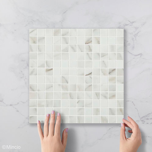 Mat marmer glasmozaïek 25 x 25 mm tegels