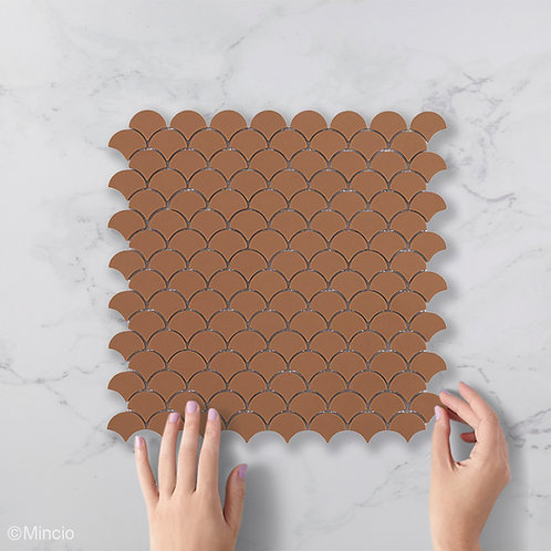Mat mokka visschub glasmozaïek 36 x 29 mm tegels