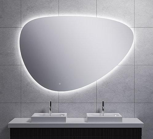 Spiegel asymmetrisch met indirecte dimbare verlichting & spiegelverwarming 150cm
