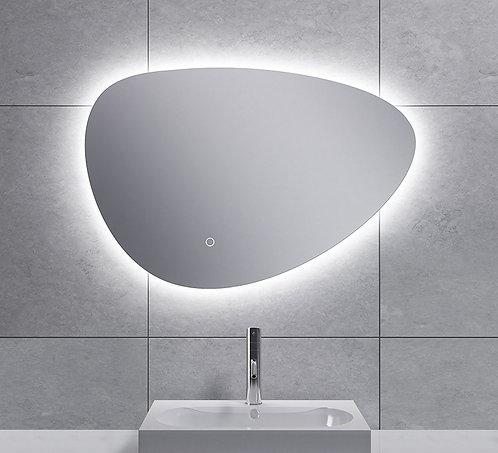 Spiegel asymmetrisch met indirecte dimbare verlichting en spiegelverwarming 70cm