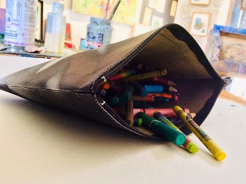 Big Hand painted canvas case. zipper pouch