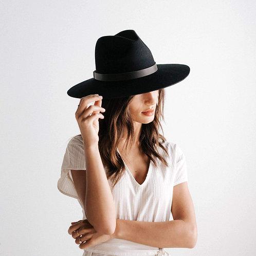 Black Gigi Pip Scottie Wide Brim Fedora 100% Australian Wool Side View