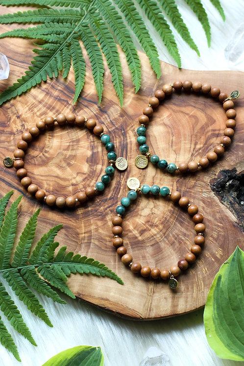 Earthly Delights Mala Bracelet Taurus New Moon Sandalwood Emerald Lotus Charm