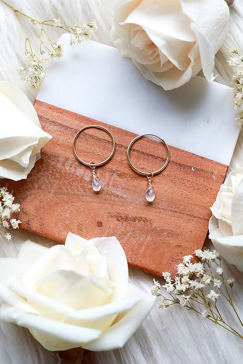 Moonstone Baby Hoop Earrings