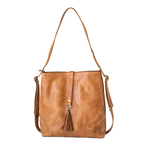 Slingback Full Grain Leather Bag/Backpack Camel Versatile Multiple Inside Pockets Elevate
