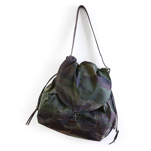 Rough & Tumble 1904 Pack Multi Pocket Camo Waxed Canvas Backpack Cross Body Shoulder Bag Diaper Bag Front