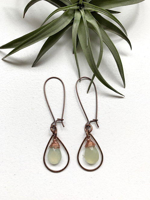 Dangly Metal and Crystal Teardrop Earrings with Jade with Copper Metal