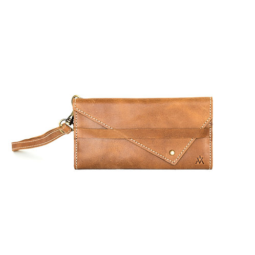 Tri-Fold Full Grain Leather Wallet Detachable Wristlet Camel Elevate