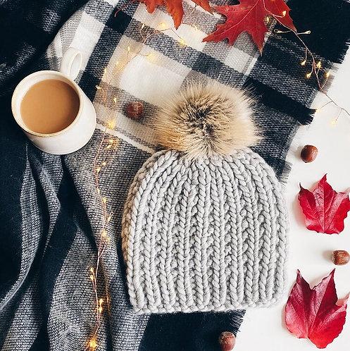 Heather Grey Knit Oxford Winter Hat with Pom-Pom Handmade