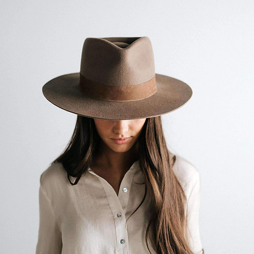 Brown Gigi Pip Miller Fedora Hat 100% Australian Wool Top View