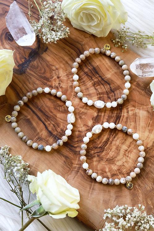 Pearlized Gemstone Bracelet