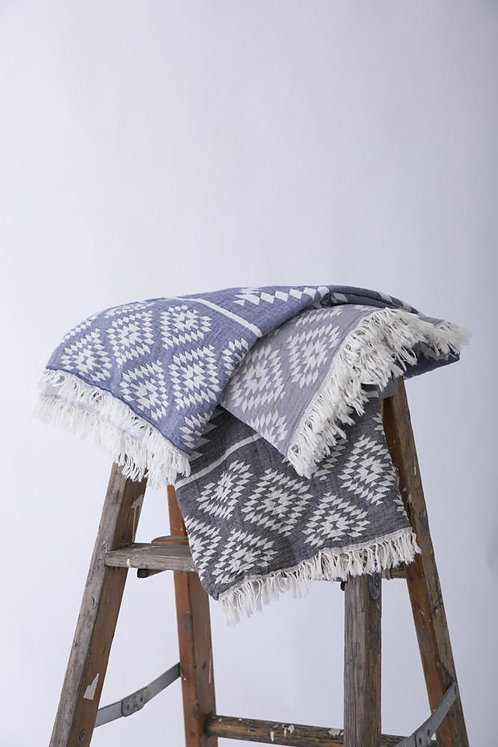 Tribe 100% Turkish Cotton Towel Geometric Motif and Delicate Frayed Edges Absorbent Quick Drying Double Sided Black or Navy