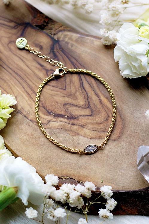 Blossom Wheat Chain w/ CZ Gold Bracelet