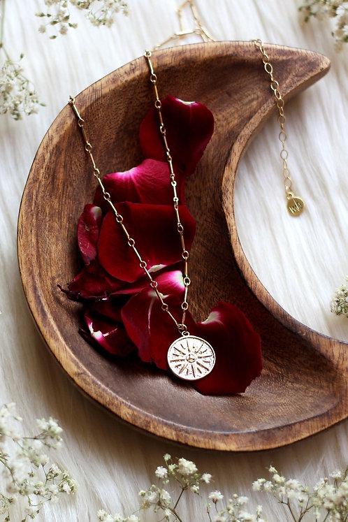 Golden Dreams 14K Gold Filled Necklace Sunburst Pendant