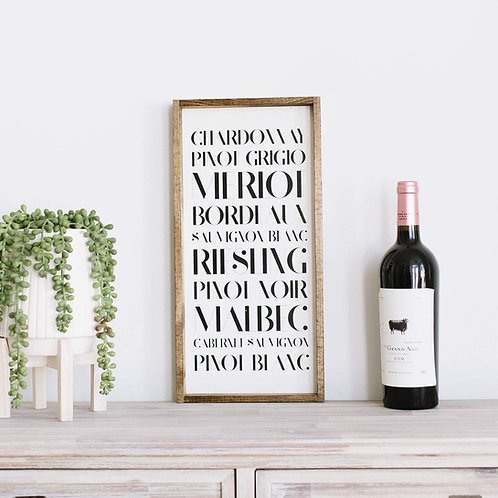 Types of Wine Wood Sign White with Black Lettering Wood Frame