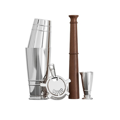Crafthouse by Fortessa Cocktail Shaker Set Jigger/Boston Shaker/Rich Black Walnut Wood Muddler/Hawthorne Strainer