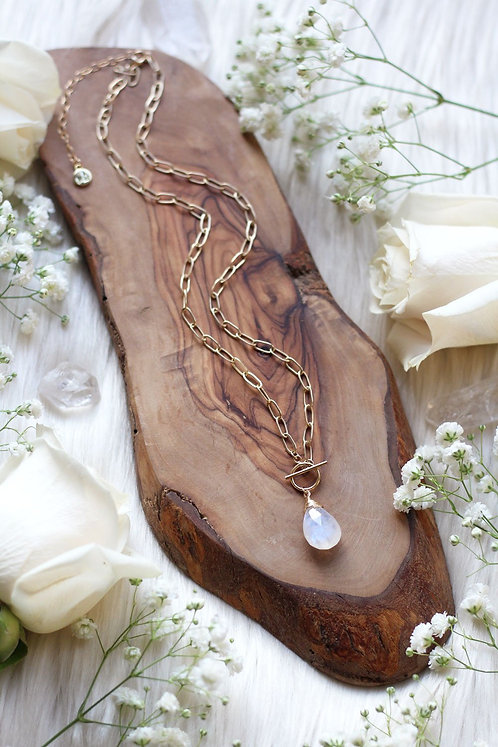 Moonstone Golden Links Necklace