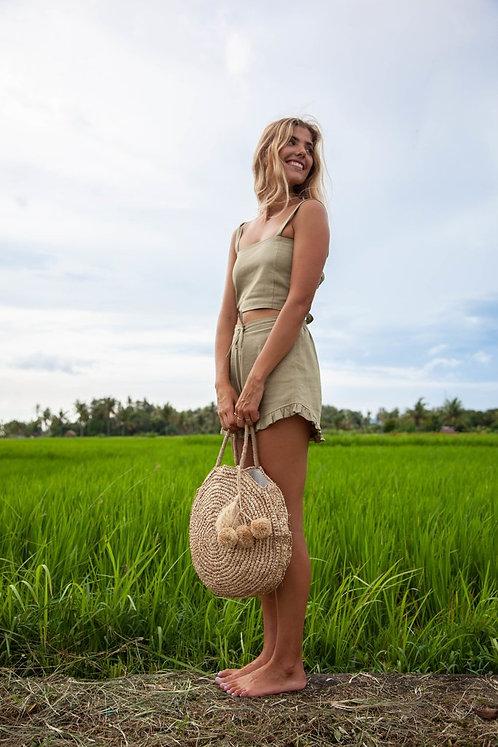 Cerah Bag Beach/Resort Bag Handmade Natural Lined Model Holding August Effects