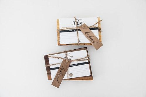 Wooden Recipe Card Holder & 15 Cards Handmade