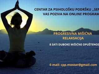 Online sesije ,,Progresivna mišićna relaksacija''