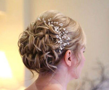 Textured up do with hair vine