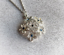 Silver Flower Blue Crystal Necklace copy_edited