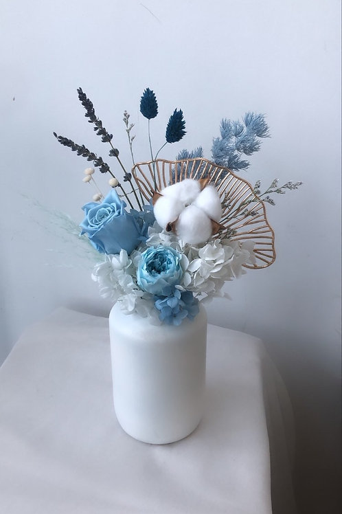 Gingko- Upcycled Preserved Flower Jar
