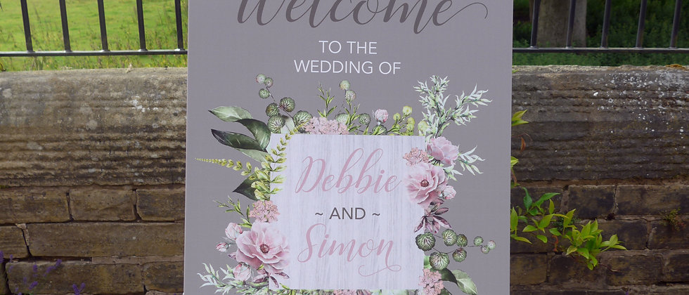 Rustic Wedding Welcome Sign, Wildflower Welcome Sign, Wedding Welcome Sign, Printed Welcome Sign