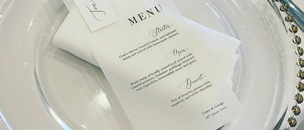 Vellum wedding menu with guest name, wedding menu, vellum menu, vellum place card, Modern Wedding