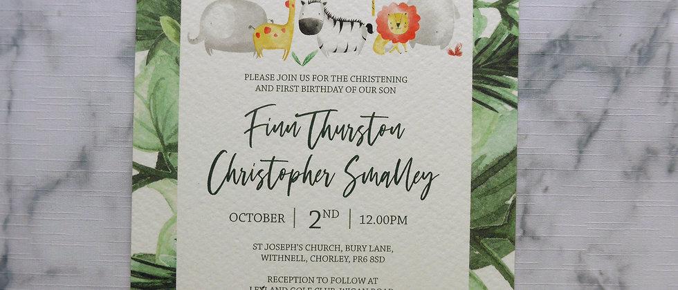 Christening Invitation, Jungle Animal Safari Baptism Invite, Child's Birthday Invitation, Gender Neutral Religious Invitation