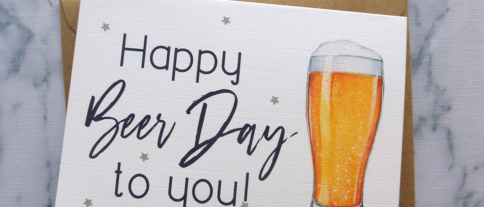 Happy Beer Day Birthday Card, Birthday Card for Him, Happy Birthday Card, Alcohol Card, Pint Birthday Card, Beer lover