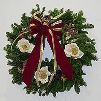 Magnolia Wreath Burgundy or red bow and cones