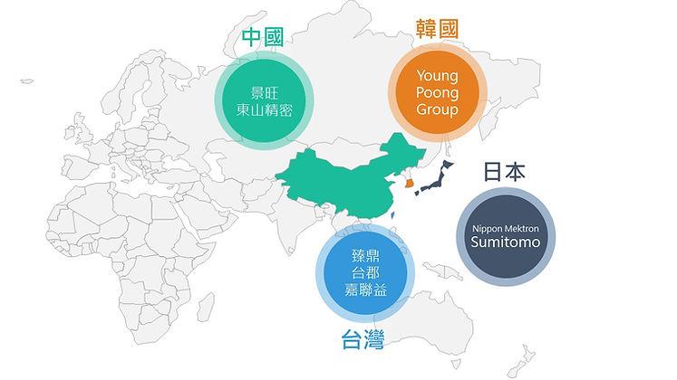 軟板廠商與國家分佈