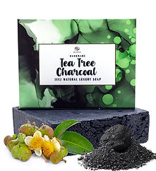 Tea Tree Oil Activated Charcoal Organic Soap Purifying Pore Cleansing Handmade Sopa