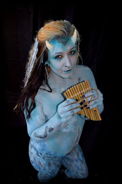 Body paint by local artist Sarah Pearce with Earth Fairy Entertainment in Portland Oregon, demon, fa