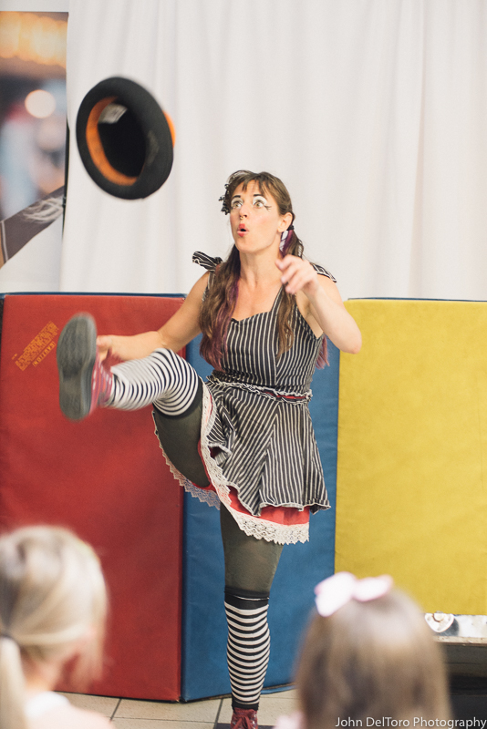 Circus magician with Earth Fairy Entertainment in Portland Oregon, kids party show, fun for children, free, hat balance trick