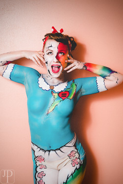 Love Wins body paint by artist Sarah Pearce with Earth Fairy Entertainment in Po