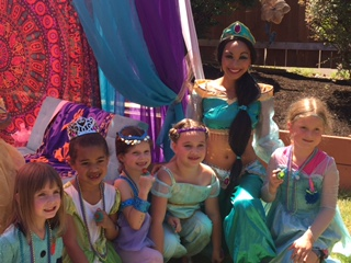 Princess party with Earth Fairy Entertainment in Portland, Oregon, Jasmine impersonator from Aladdin