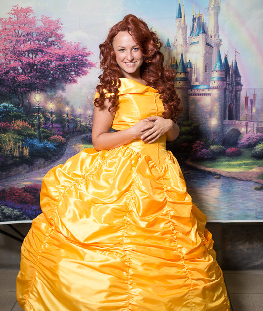 Princess Belle look alike impersonator with Earth Fairy Entertainment in Portland Oregon, party, corporate, event