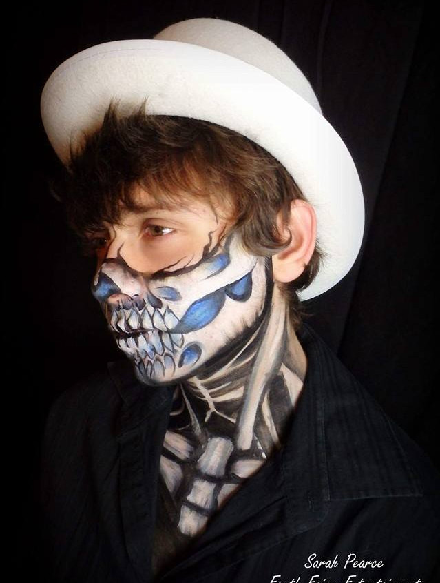 Day of the Dead, Sugar Skull,  mens face paint and makeup by Sarah Pearce with Earth Fairy Entertainment in Portland Oregon, Dia Los Murtos costume, jewels, Hillsboro, Beaverton, Halloween