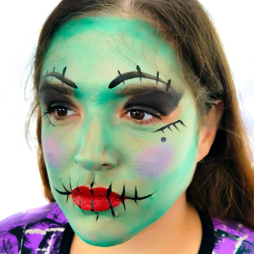 Halloween Town Face Paint Sally, Monster High, green girl, fun with Earth Fairy Entertainment, St Helens Oregon, Portland