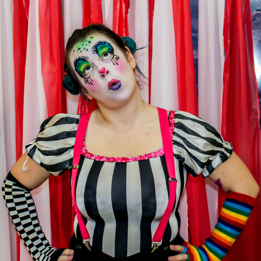 Silly Clown with Earth Fairy Entertainment in Portland Oregon, professional coporate entertainer, birthday party, kids staged show
