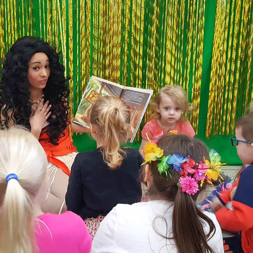 Princess Party with Earth Fairy Entertainment in Portland Oregon, Luaua, Hawaiian, corporate Moana impersonator, birthday character