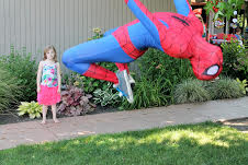 Spider Hero Man character appearance with earth Fairy Entertainment in Portland Oregon, super hero b